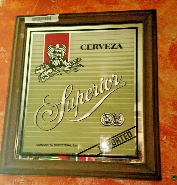 Vintage Cerveza Superior Beer Mirror Bar Sign Advertising Man Cave Original