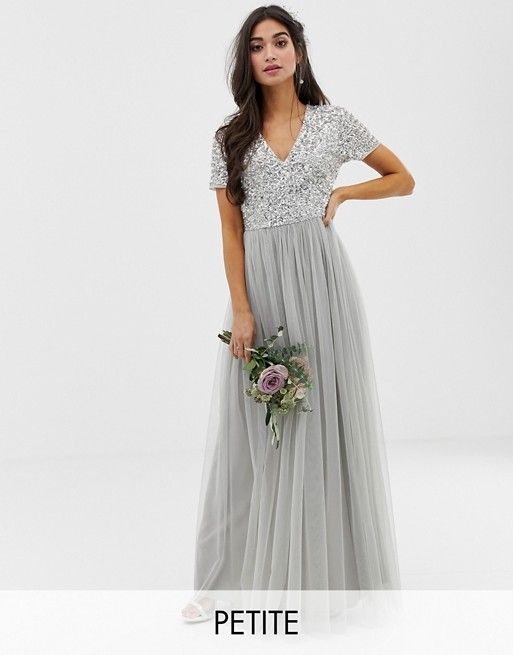 f4a57f800cab5 Maya Petite Bridesmaid v neck maxi tulle dress with tonal delicate sequins  in soft gray in 2019