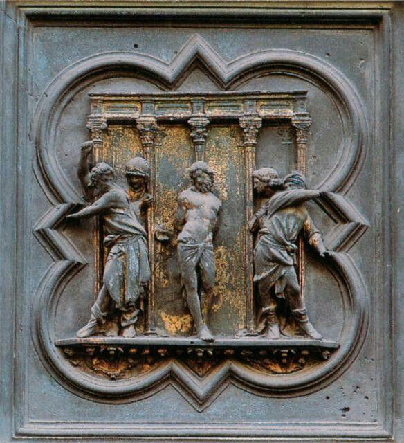 Particolare Porta Nord: Flagellazione Autore Lorenzo Ghiberti Dimensioni 65×57,5 cm, Ubicazione Battistero di Firenze