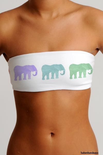 Get a plain, white bandeau, get different color paints, get any kind of stencil you want (This one is elephant) and paint with the stencil! So cute!