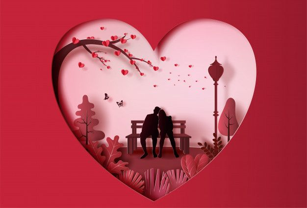 Young Couple In Love Sitting On A Bench In Park Paper Art Style Paper Art Love Wallpaper Backgrounds Love Wallpapers Romantic Romantic valentine day free wallpaper