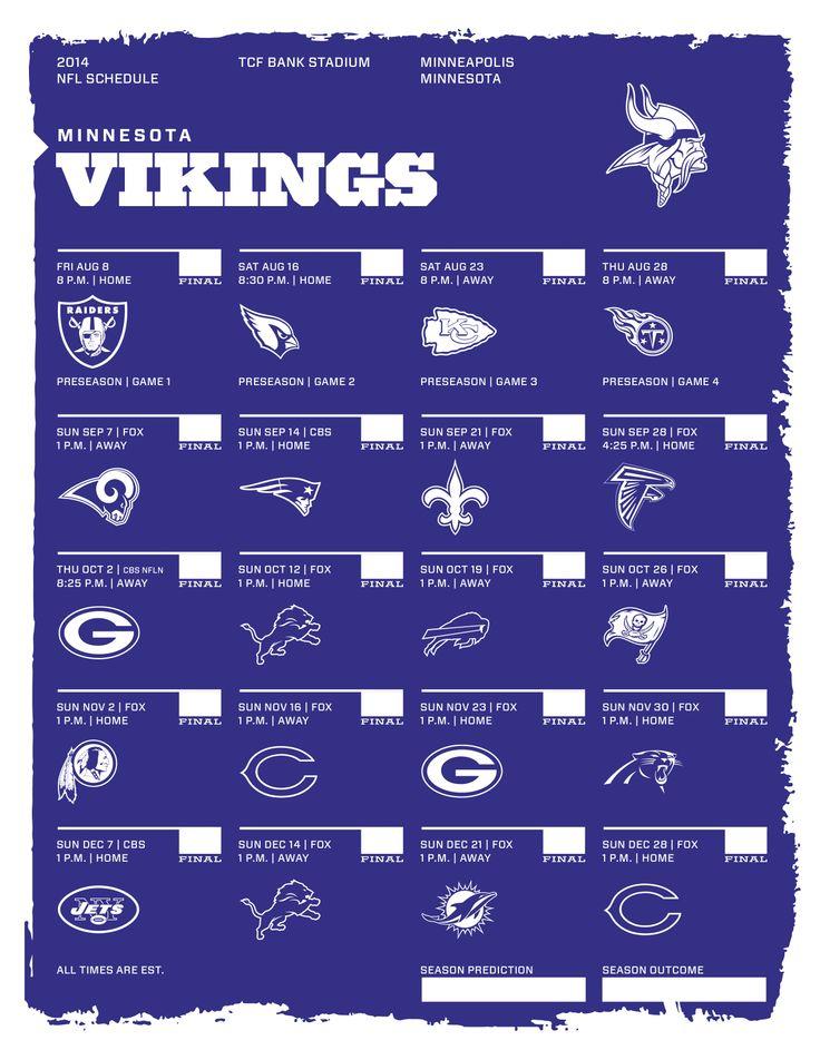 Minnesota Vikings 2014 NFL Schedule