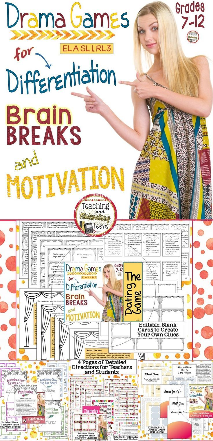 """ELA Drama Games Bundle for Brain Breaks, Differentiation, and Motivation. Your students will LOVE these games! Bundled here are four favorite drama games that my students have played for years, and I'm so excited to be sharing them! Included are """"Pantomines,"""" """"The Dating Game,"""" """"Charades,"""" and """"What and Where Improv."""" Detailed instructions are provided with each lesson so you will know how to maximize the effectiveness of each game, step-by-step!"""