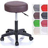TRESKO tabouret de travail tabouret à roulettes siège pivotant par 360 degrés rembourrage de 10 cm de 8 couleurs différentes (Marron)