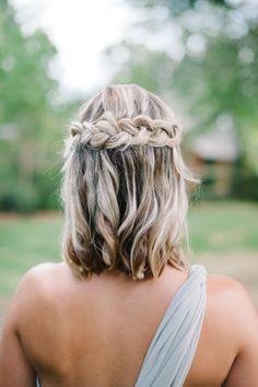 medium hair half up half down braided bridesmaid hairstyle..  add more curls