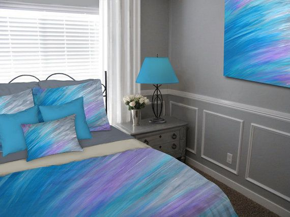 abstract duvet cover or bedding ensemble gray teal and turquoise blue bedroom decor by denise