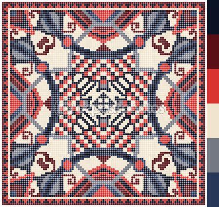πλατεία γεωμετρικό μοτίβο για Σταυρός ουκρανική παραδοσιακά κεντήματα βελονιά, που όπως χειροποίητα και δημιουργία, pixel καλλωπιστικών διανυσματικά εικονογράφηση — Αρχείο Εικονογραφήσεων #66286757