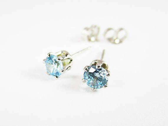 Gemstone Stud Earrings Sterling Silver Studs Blue Topaz CZ