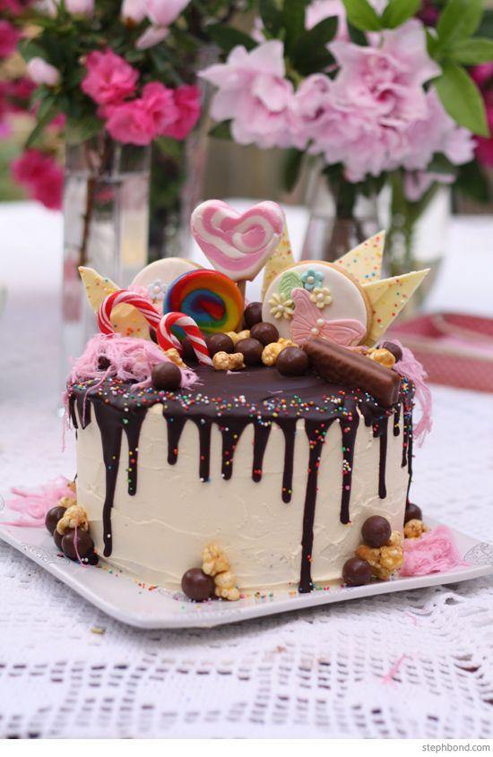 Bondville: Bondville Parties: 8th Birthday Party Spring theme - Katherine Sabbath-inspired drip cake.