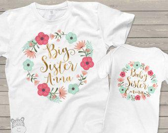 chemise petite soeur grande soeur ensemble petite sœur - frère correspondant floral adorable set w / paillettes ou une feuille pour soeur correspondante chemises BSNWRTH
