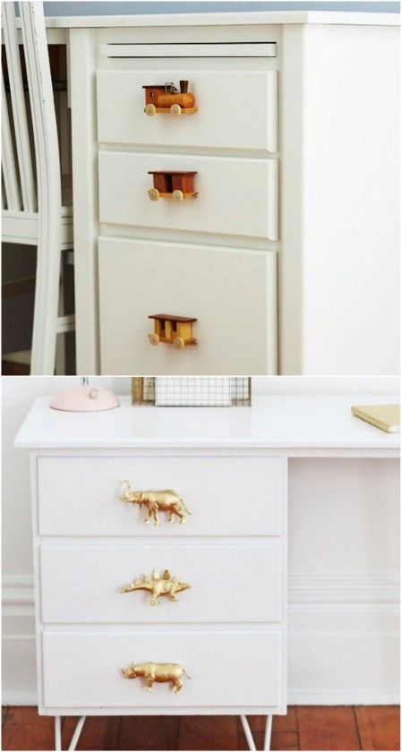 Drawer Knobs -- Looking for different dresser knobs & hangers.  Already have some small wooden trains that could be made into drawer pulls & IF I got some really cheap Dinosaurs or animals -- this could work.