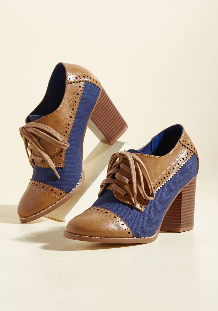 Eclectic Effortlessness Block Heel. Which came first - your mashup style or these Oxford-inspired heels by Restricted? #brown #modcloth