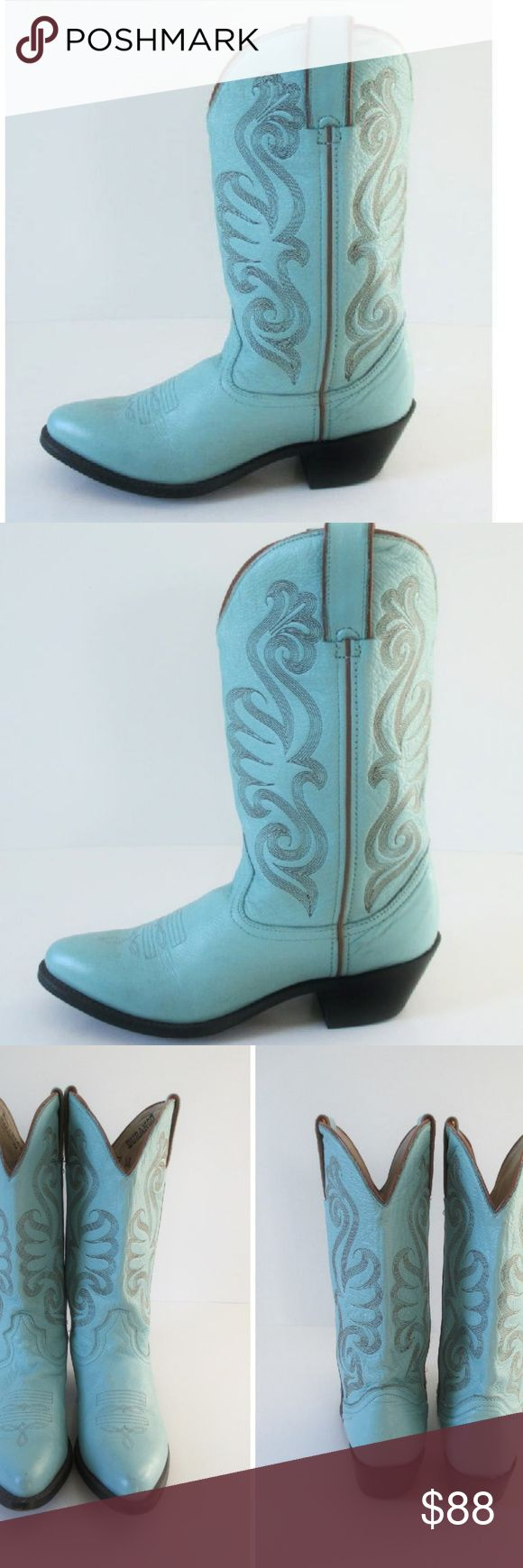 Durango Turquoise Leather Western Cowboy Boots 7 A lovely turquoise blue + Rust piping Classic stitched design on shaft All leather & leather lined Taped side seams + cushioned insole with flex forepart.  Handstained outsole and cowgirl stacked heel   Leather + Size 7 + Shaft height 11 inches  Tip of toe to wall : 10 3/4 inches Minimal wear+ Some of the original plastic is on the inside of the back heel(where your spur sits) Some minor scuffing and a white-ish mark I can't get off of the…