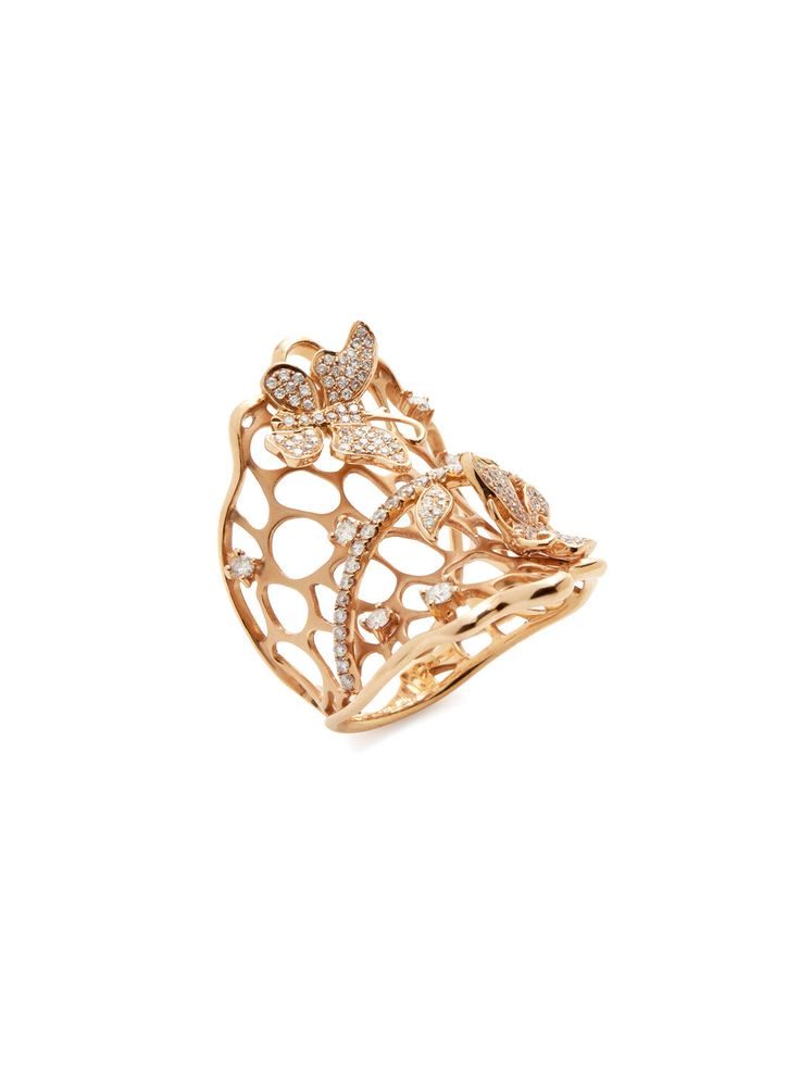 Diamond Accented Butterfly Net Ring by Shay at Gilt