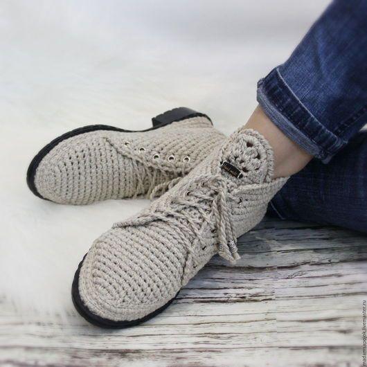 Обувь ручной работы. Ярмарка Мастеров - ручная работа. Купить Льняные ботиночки вязаные. Handmade. Хаки, вязаные мокасины