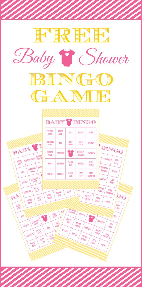 Free Pink and Yellow Baby Shower Bingo Printable Cards for a Girl Baby Shower | CatchMyParty.com