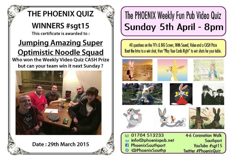 Quiz Winners 29th March