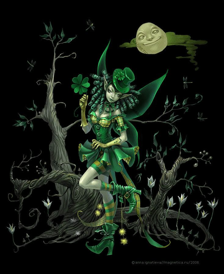 Luck ~ Anna Ignatieva St Patrick's Day Fairy Myth Mythical Mystical Legend Elf Fairy Fae Wings Fantasy Elves Faries Sprite Nymph Pixie Faeries Enchantment Forest Whimsical Mischievous