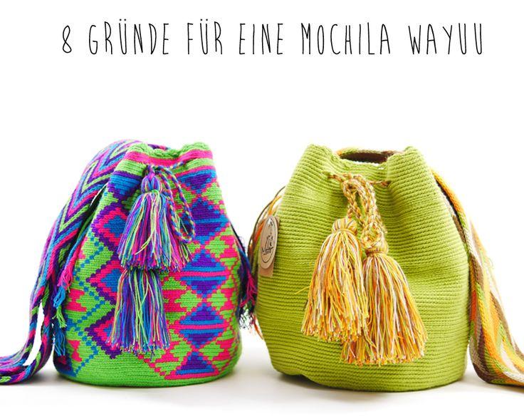 """8 Gründe für eine Mochila Wayuu !  1. Eine """"Mochila Wayuu Tasche"""" ist 100% Handgemacht ! 2. Die Tasche ist authentisch 3. Farbe = Freude 4. Mit dem Kauf einer """"Mochila Wayuu"""" tust du was gutes. 5. Jede Tasche ist ein Unikat 6. 100% Baumwolle 7. Die Tasche zieht viele Blicke auf sich 8. Eine Mochila Wayuu Tasche ist vielseitig kombinierbar und passt         zu fast allen Outfits.  Finde jetzt deine Lieblings Mochila Wayuu Tasche im Onlineshop von www.Molago.de"""