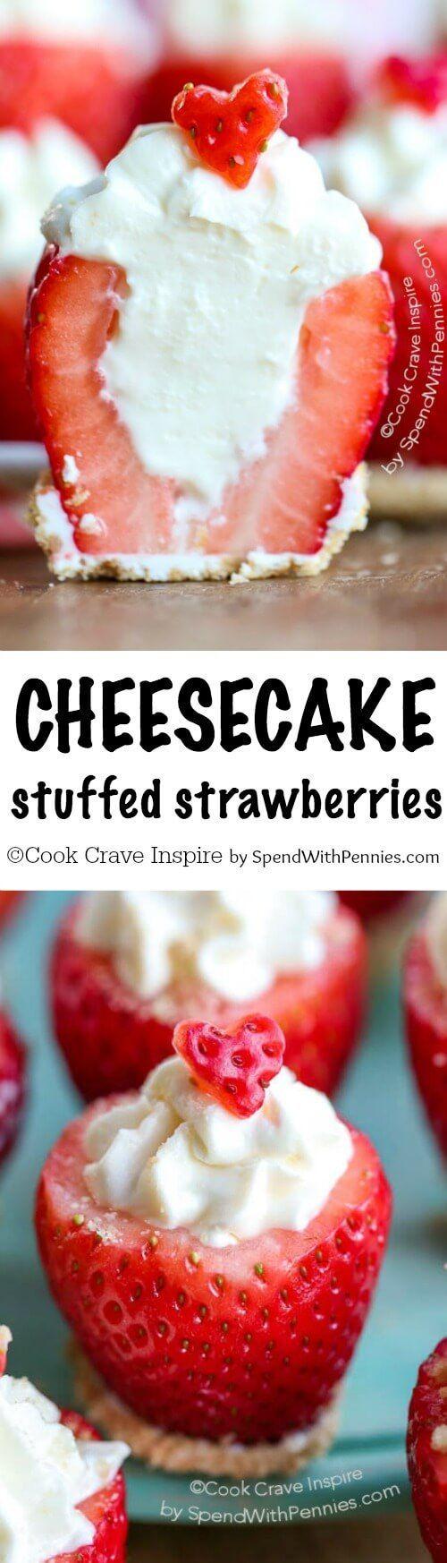 Cheesecake Stuffed Strawberries are an easy no bake dessert recipe! Fresh juicy berries are filled with an easy no bake cheesecake!