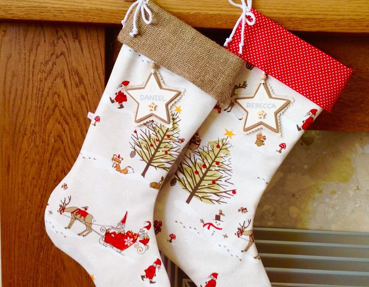 Woodland Christmas Stocking, Hessian Christmas Stocking, Personalised Christmas Stocking, Luxury Christmas Stocking by lottieanndesigns on Etsy https://www.etsy.com/listing/254106087/woodland-christmas-stocking-hessian