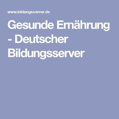 Gesunde Ernährung - Deutscher Bildungsserver