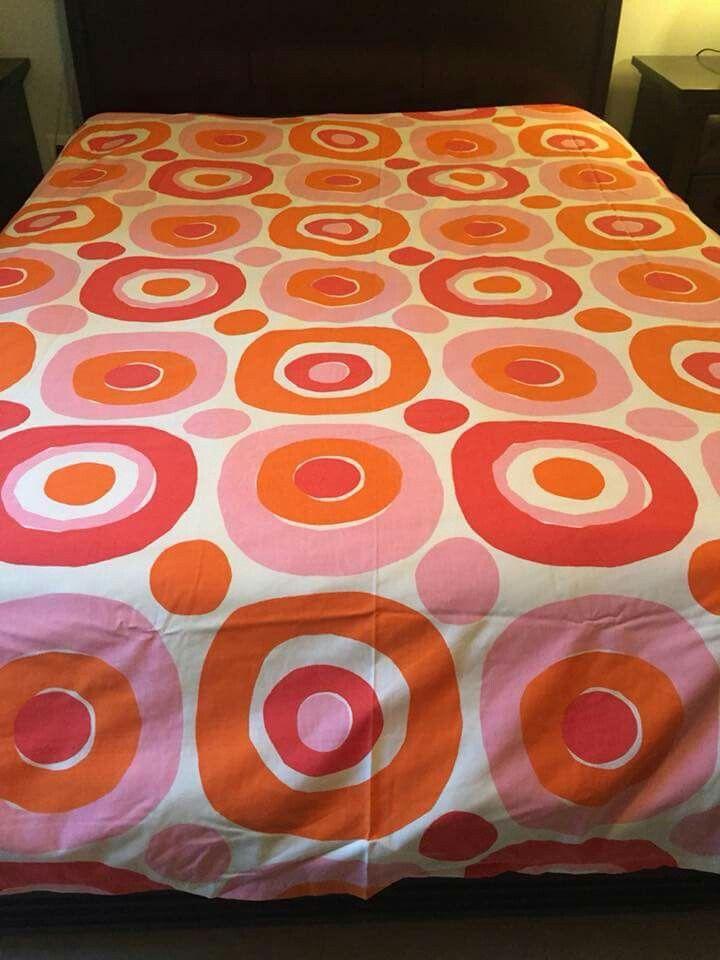 Vintage Fieldcrest Ideal Luxury Muslin Bed Sheets Mod Geometric - Orange print sheets
