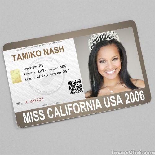 Tamiko Nash Miss California USA 2006 card