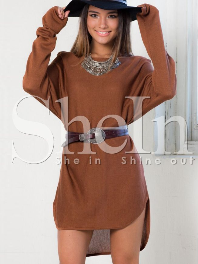 Brown Long Sleeve High Low Dress 14.39