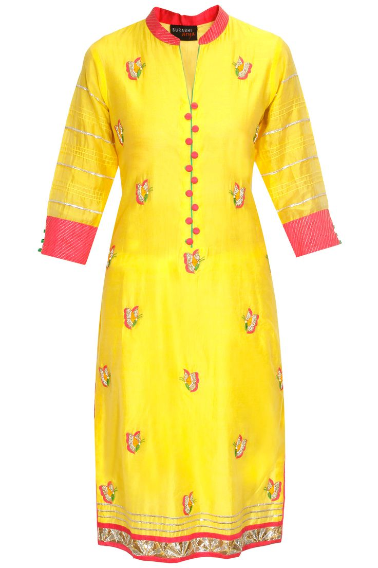 Yellow butterfly kurta with pink duppatta available only at Pernia's Pop-Up Shop.