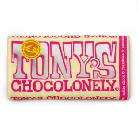 Tony Chocolonely witte chocolade framboos & knetter, we love it!
