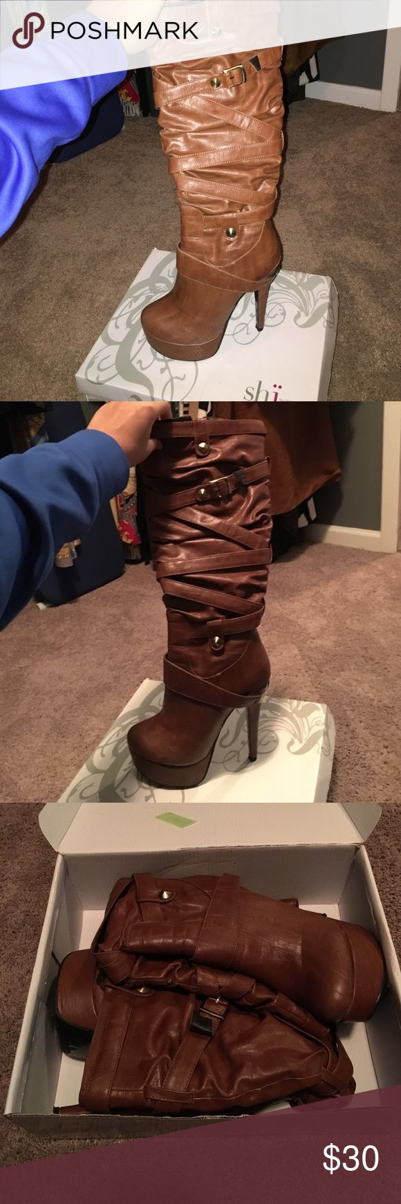 Brown Heeled Boots Worn a few times. Great condition! Super cute and comfortable. :) Shi by Journeys Shoes Heeled Boots