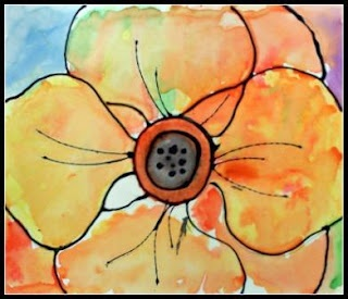 black glue line and watercolour poppies- inspired by Georgia O'Keefe