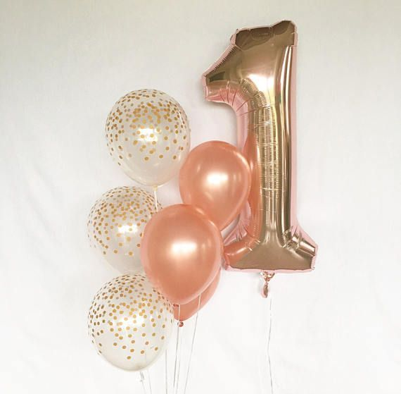 Rose Gold and Clear Gold Confetti Latex Balloons~First Birthday~Baby Shower Girl Birthday Party~Rose Gold Balloon~Gold Confetti Look Balloon #GlitterBalloons