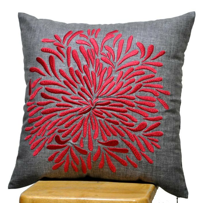 Red Chrysant Pillow Cover Decorative Throw Pillow by KainKain, $28.00