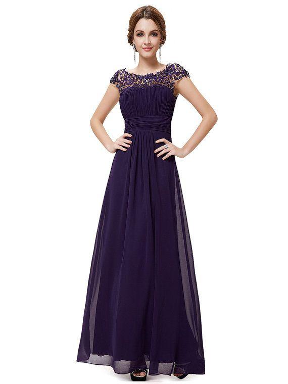 Lange lila Brautjungfer Kleid lila Spitze von ivybridal auf Etsy