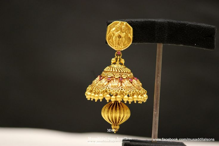 Gold Antique Coin Jhumka Designs, Gold Antique Temple Jhumka Designs.