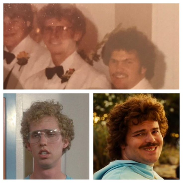 Going through my gf's parents' wedding album I discovered that a couple of her dad's groomsmen were Napolean Dynamite and Nacho Libre.