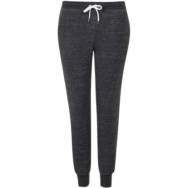 TOPSHOP PETITE Brushed Joggers ($52) ❤ liked on Polyvore featuring activewear, activewear pants, charcoal, petite, topshop, petite activewear pants, petite activewear and petite sportswear