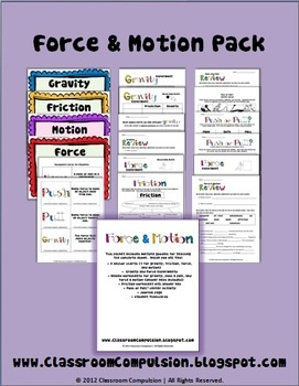 This large pack includes a variety of goodies to supplement your force and motion instruction.  It includes:*4 anchor charts (1 for gravity, forc...