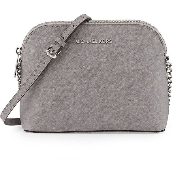 MICHAEL Michael Kors Jet Set Small Travel Dome Crossbody Bag ($168) ❤ liked on Polyvore featuring bags, handbags, shoulder bags, pearl gray, crossbody purse, chain shoulder bag, monogrammed crossbody purse, travel crossbody and gray handbags