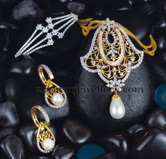 Jewellery Designs: Diamond Pendant Earrings and Bracelet