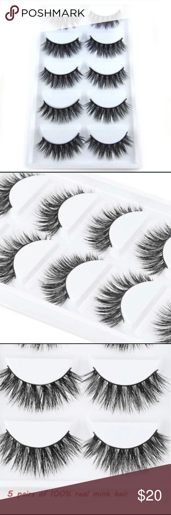💕100% REAL MINK EYELASHES 5pcs Specifications: The False eyelashes are Specialized made by hand entirely, high quality synthetic fibers  and designed to look natural and feel great for everyday use  100% brand New Very soft and comfortable to wear Suitable for Party or Professional Make up Easy to use, can make your eyes look bright and attractive They can be removed by eye makeup remover Can be reused when applied with care Makeup False Eyelashes
