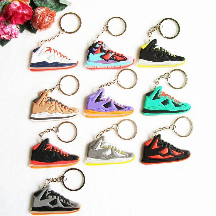 Mini Silicone Jordan Lebron 10 Key Chain Bag Charm Woman Key Ring Gifts Sneaker Key Holder Pendant Accessories Shoes Keychain