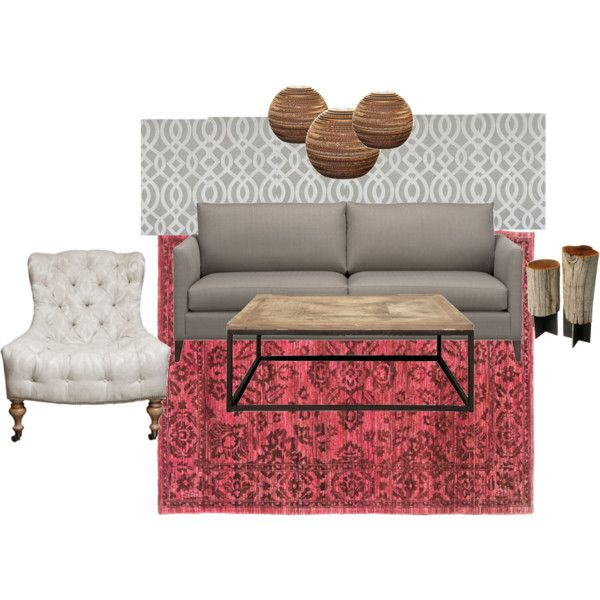 ONE COUCH - 3 WAYS: Shades of Taupe Living Room with Over-dyed red rug