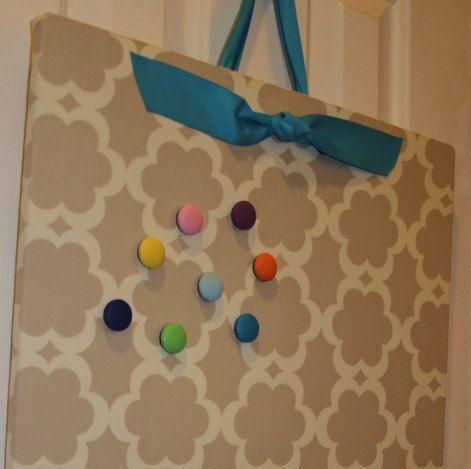 "Magnet Board (16"" x 24"") Fabric covered Magnetic bulletin board, Taza Tarika Neutral, Kitchen Bulletin Board, Kids room, Wedding display"
