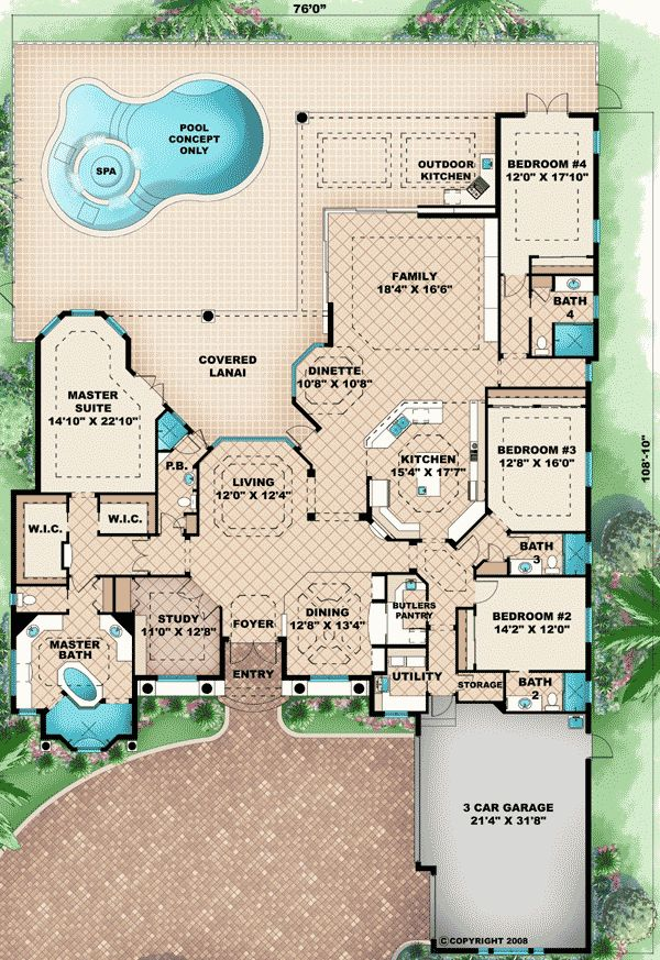 ... Dream House Floor Plan, House Plans With Pool, Floorplan, Houseplan