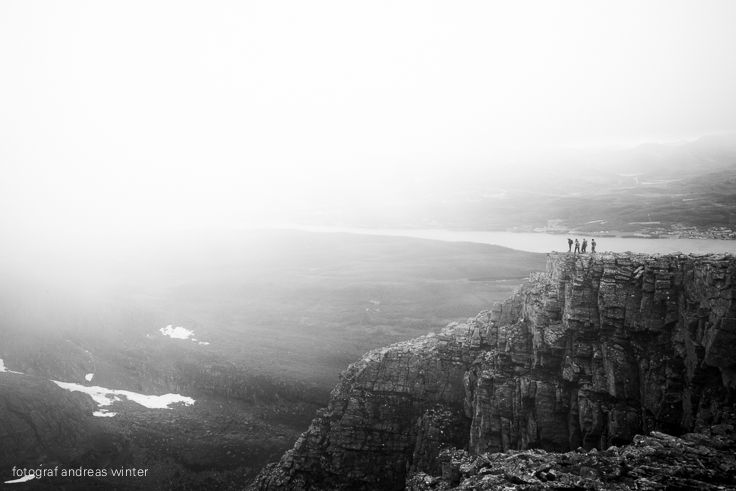 Hiking in thick fog on the west coast of Norway