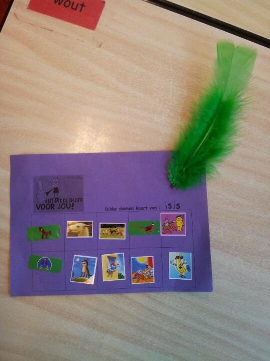 Voor allerlei werkjes, taakjes of andere knappe prestaties kun je een sticker verdienen, kaart vol? Dan mag je een pluim uitkiezen die eraan wordt geniet! Een dikke duim en een pluim !!