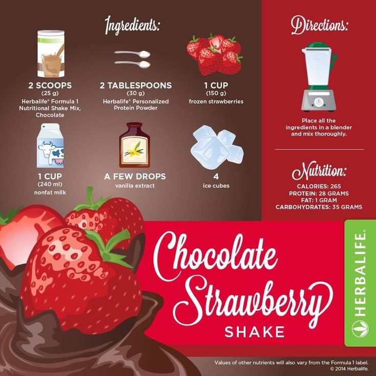 Prova le nostre ricette originali Herbalife.  Un gustoso shake fragole e cioccolato .
